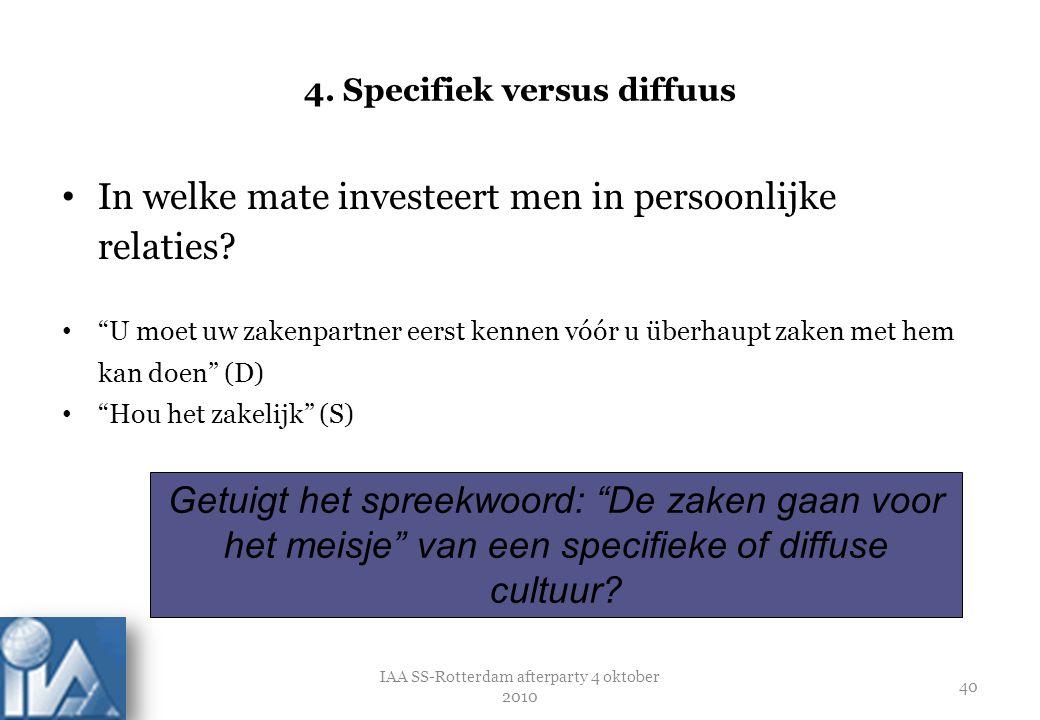 """4. Specifiek versus diffuus In welke mate investeert men in persoonlijke relaties? """"U moet uw zakenpartner eerst kennen vóór u überhaupt zaken met hem"""