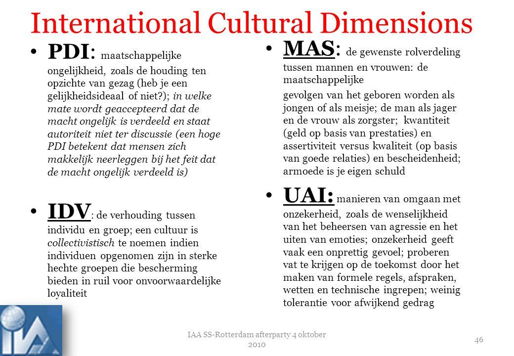IAA SS-Rotterdam afterparty 4 oktober 2010 47 International Cultural Dimensions LTO: Lange-termijn gerichte samenlevingen bevorderen pragmatische deugden gericht op toekomstige beloningen, in het bijzonder sparen, doorzettingsvermogen, en de aanpassing aan veranderende omstandigheden.