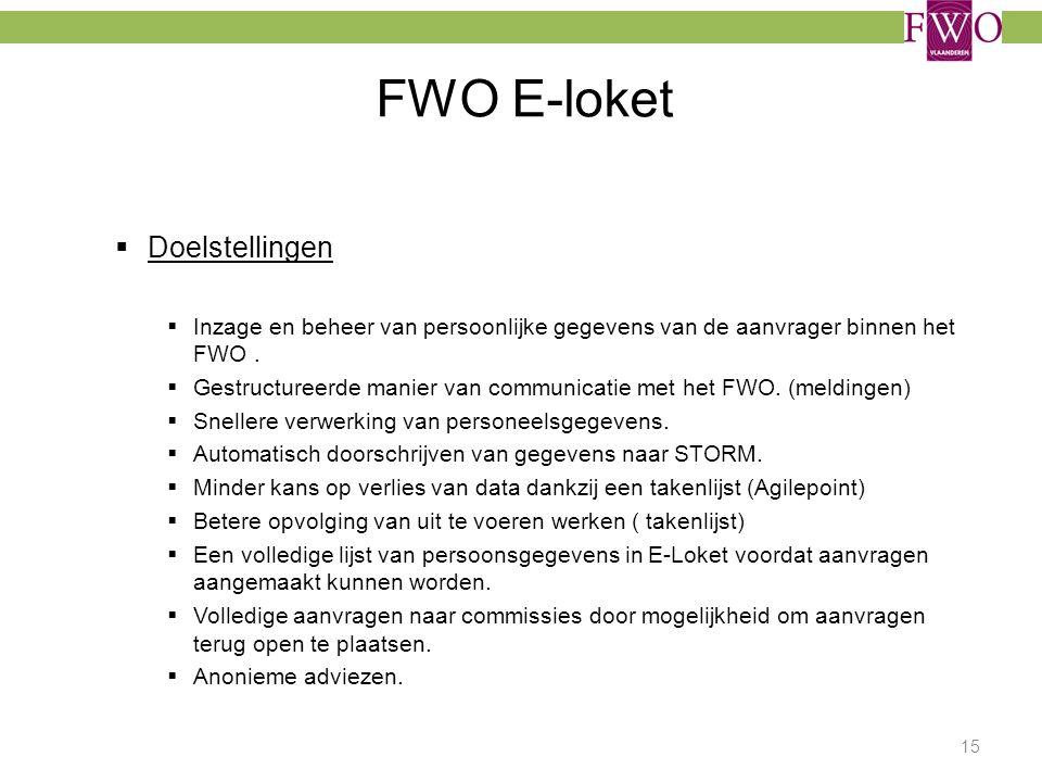 FWO E-loket 15  Doelstellingen  Inzage en beheer van persoonlijke gegevens van de aanvrager binnen het FWO.  Gestructureerde manier van communicati