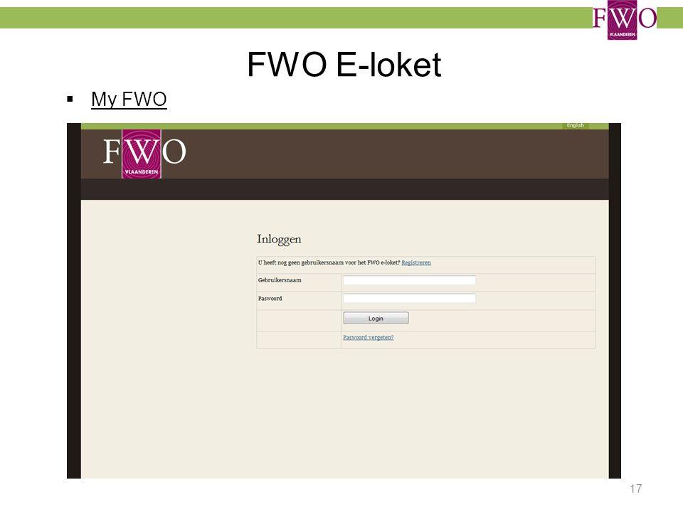 FWO E-loket  My FWO 17