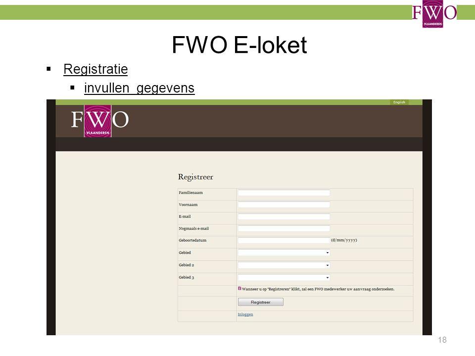 FWO E-loket  Registratie  invullen gegevens 18