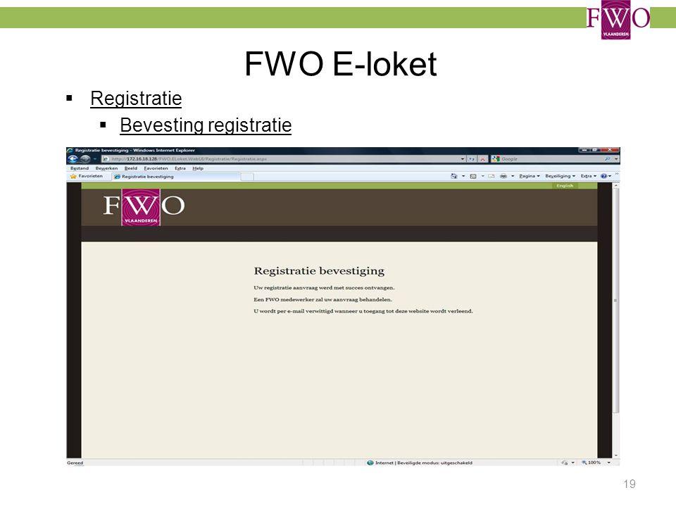 FWO E-loket  Registratie  Bevesting registratie 19