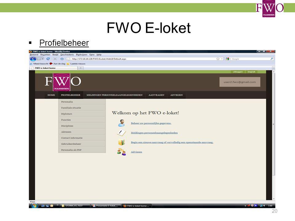 FWO E-loket  Profielbeheer 20