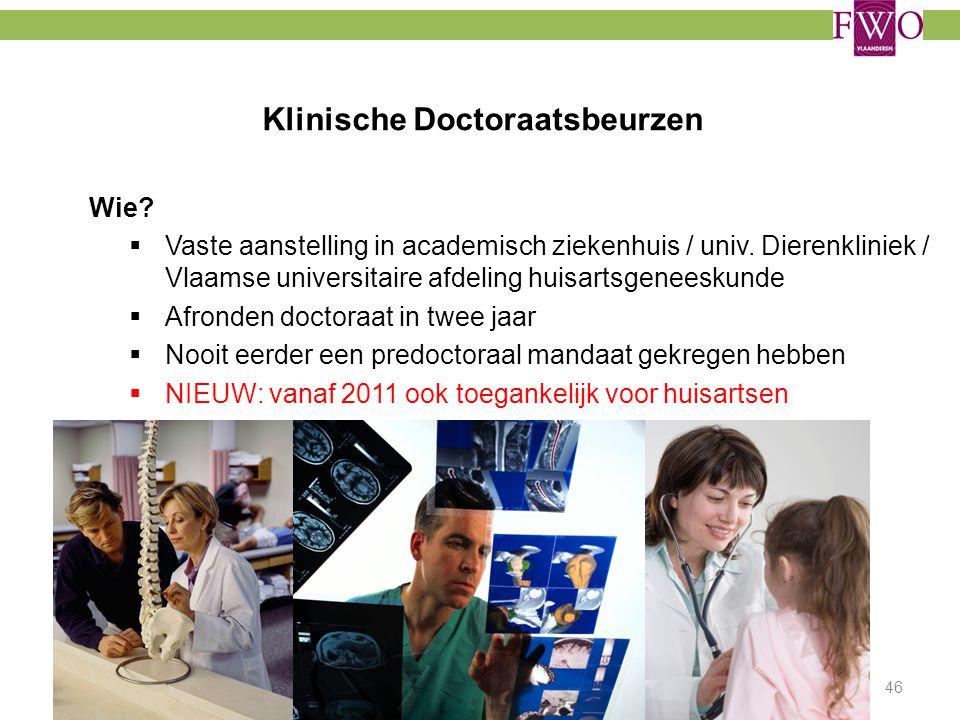 Klinische Doctoraatsbeurzen Wie?  Vaste aanstelling in academisch ziekenhuis / univ. Dierenkliniek / Vlaamse universitaire afdeling huisartsgeneeskun