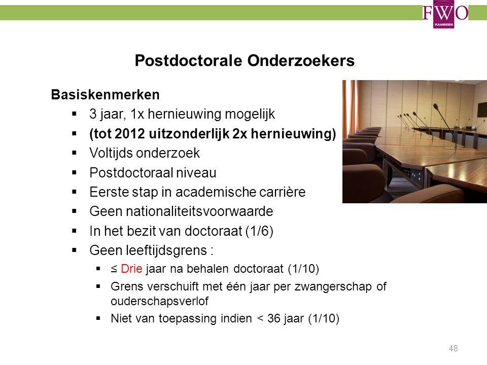 Postdoctorale Onderzoekers Basiskenmerken  3 jaar, 1x hernieuwing mogelijk  (tot 2012 uitzonderlijk 2x hernieuwing)  Voltijds onderzoek  Postdocto