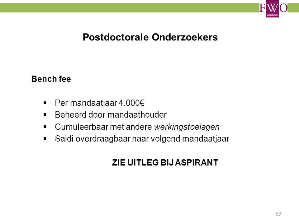 Postdoctorale Onderzoekers Bench fee  Per mandaatjaar 4.000€  Beheerd door mandaathouder  Cumuleerbaar met andere werkingstoelagen  Saldi overdraa