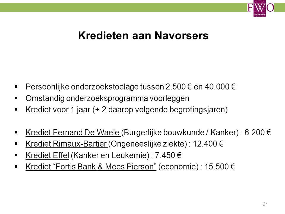 Kredieten aan Navorsers  Persoonlijke onderzoekstoelage tussen 2.500 € en 40.000 €  Omstandig onderzoeksprogramma voorleggen  Krediet voor 1 jaar (
