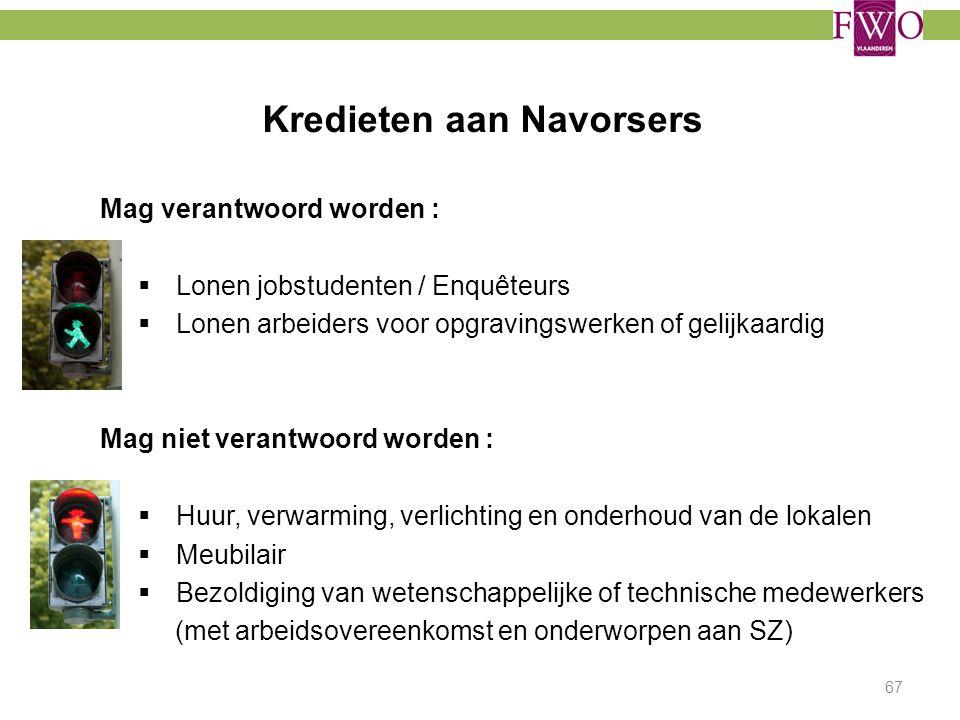 Kredieten aan Navorsers Mag verantwoord worden :  Lonen jobstudenten / Enquêteurs  Lonen arbeiders voor opgravingswerken of gelijkaardig Mag niet ve
