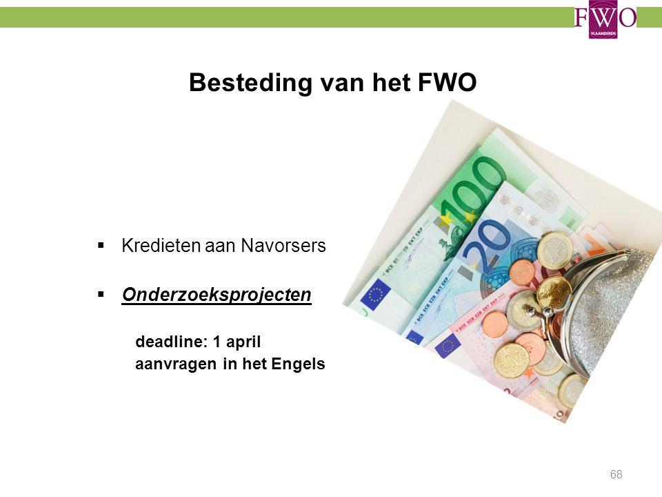 Besteding van het FWO  Kredieten aan Navorsers  Onderzoeksprojecten deadline: 1 april aanvragen in het Engels 68