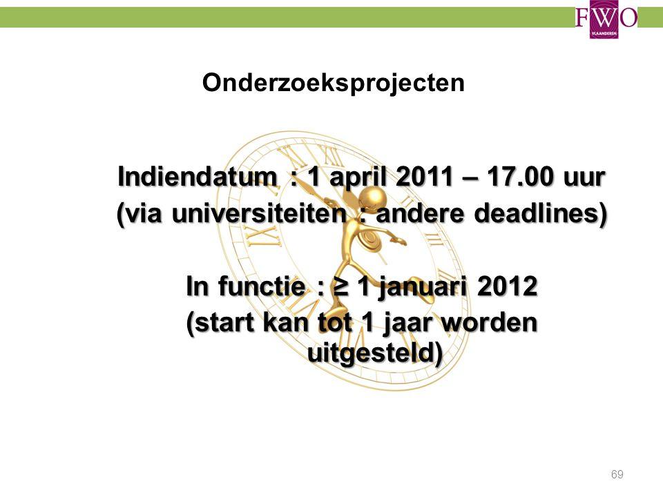Onderzoeksprojecten Indiendatum : 1 april 2011 – 17.00 uur (via universiteiten : andere deadlines) In functie : ≥ 1 januari 2012 (start kan tot 1 jaar