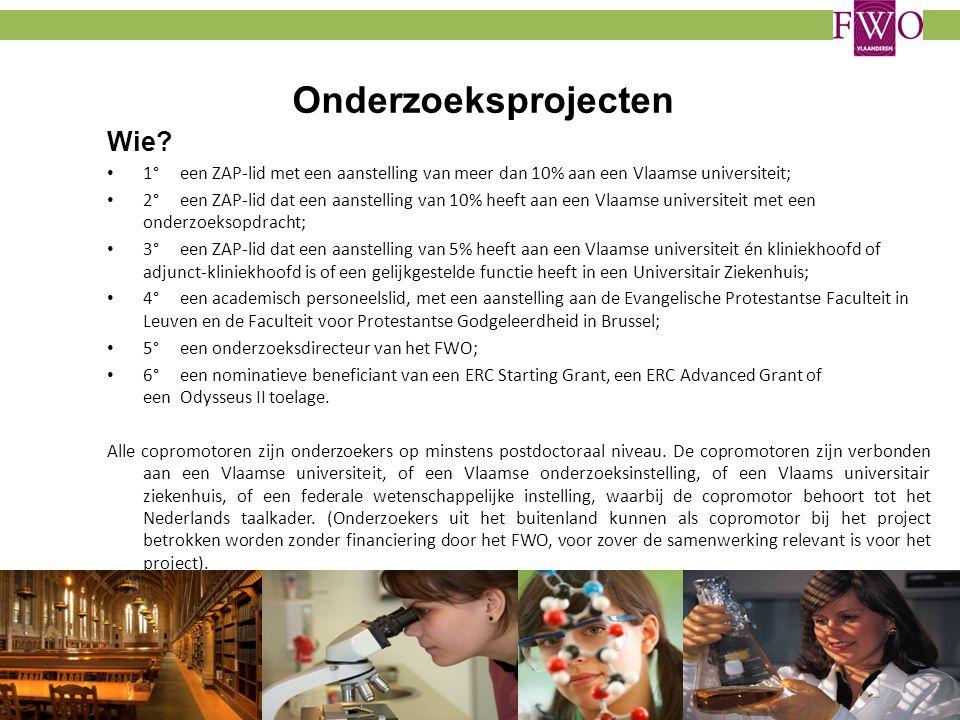Onderzoeksprojecten Wie? 1° een ZAP-lid met een aanstelling van meer dan 10% aan een Vlaamse universiteit; 2° een ZAP-lid dat een aanstelling van 10%