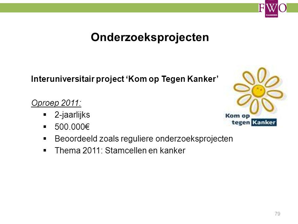 Onderzoeksprojecten Interuniversitair project 'Kom op Tegen Kanker' Oproep 2011:  2-jaarlijks  500.000€  Beoordeeld zoals reguliere onderzoeksproje