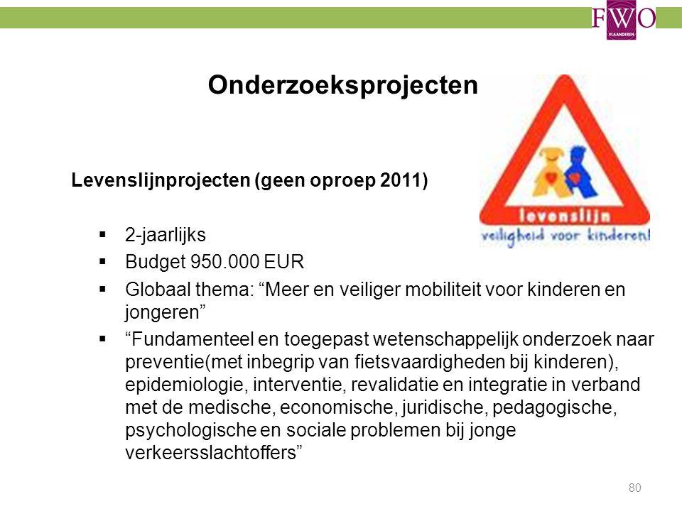 """Onderzoeksprojecten Levenslijnprojecten (geen oproep 2011)  2-jaarlijks  Budget 950.000 EUR  Globaal thema: """"Meer en veiliger mobiliteit voor kinde"""