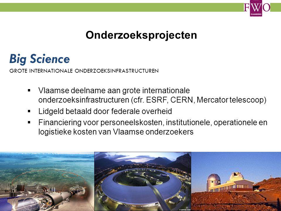 Onderzoeksprojecten  Vlaamse deelname aan grote internationale onderzoeksinfrastructuren (cfr. ESRF, CERN, Mercator telescoop)  Lidgeld betaald door