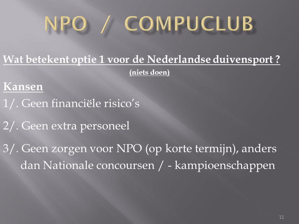 11 Wat betekent optie 1 voor de Nederlandse duivensport .
