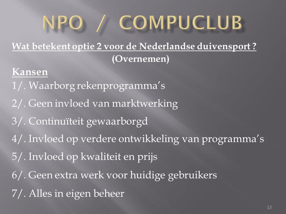 13 Wat betekent optie 2 voor de Nederlandse duivensport .