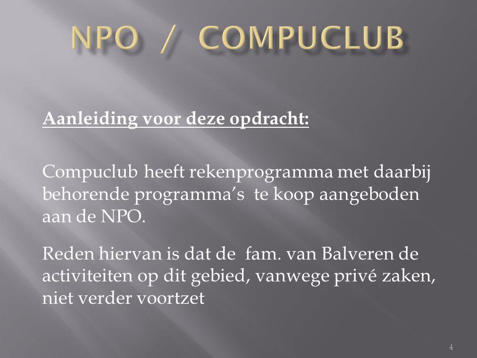 4 Aanleiding voor deze opdracht: Compuclub heeft rekenprogramma met daarbij behorende programma's te koop aangeboden aan de NPO.