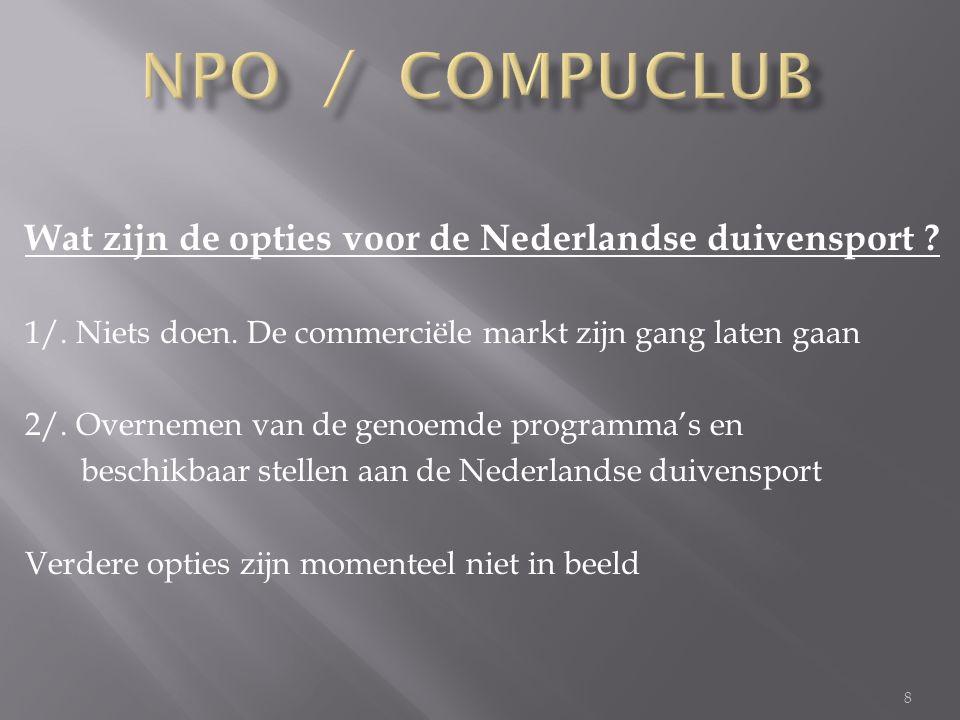 8 Wat zijn de opties voor de Nederlandse duivensport .