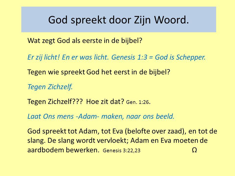 Tegen wie spreekt God het eerst in de bijbel.Tegen Zichzelf.