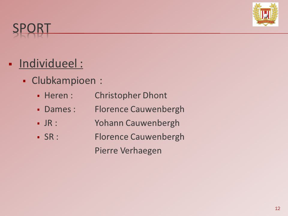 12  Individueel :  Clubkampioen :  Heren :Christopher Dhont  Dames :Florence Cauwenbergh  JR :Yohann Cauwenbergh  SR :Florence Cauwenbergh Pierr