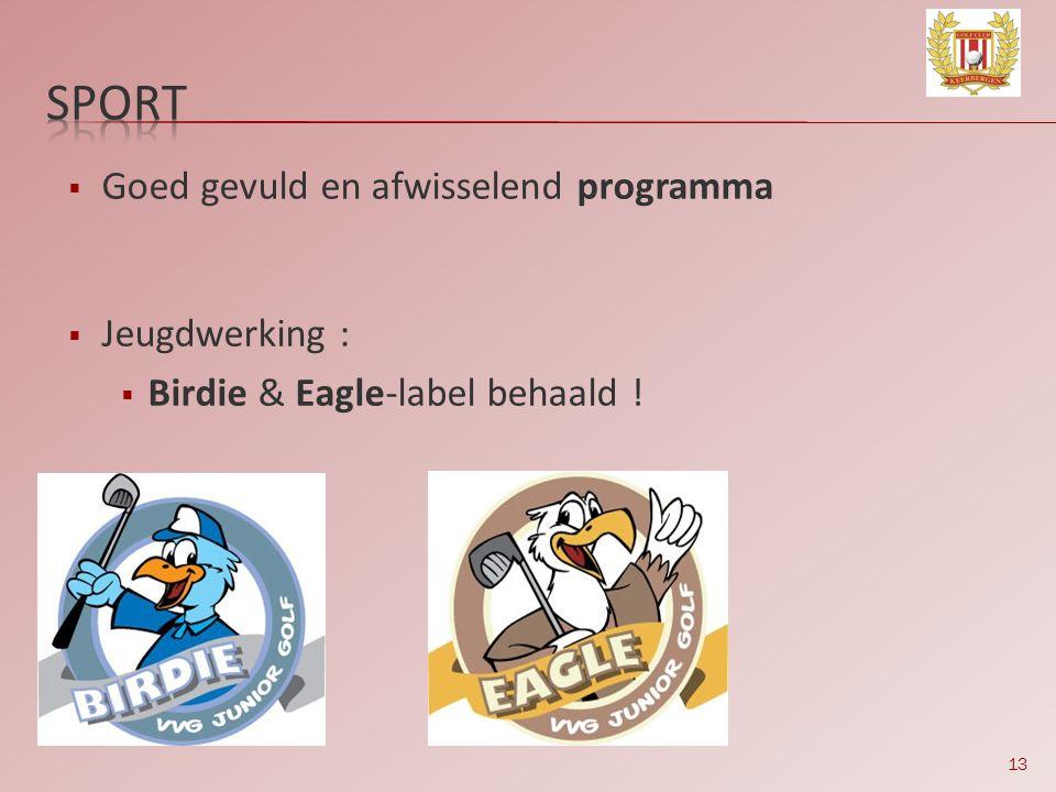 13  Goed gevuld en afwisselend programma  Jeugdwerking :  Birdie & Eagle-label behaald !