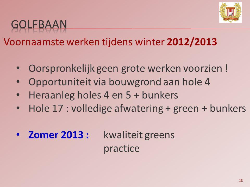 16 Voornaamste werken tijdens winter 2012/2013 Oorspronkelijk geen grote werken voorzien ! Opportuniteit via bouwgrond aan hole 4 Heraanleg holes 4 en