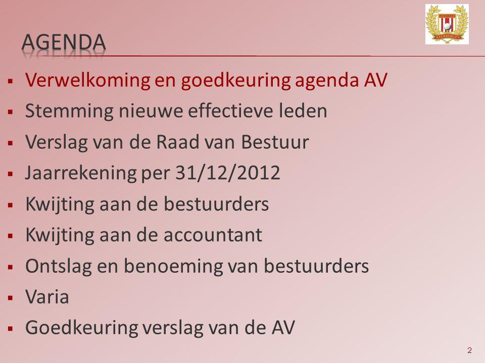 2  Verwelkoming en goedkeuring agenda AV  Stemming nieuwe effectieve leden  Verslag van de Raad van Bestuur  Jaarrekening per 31/12/2012  Kwijtin