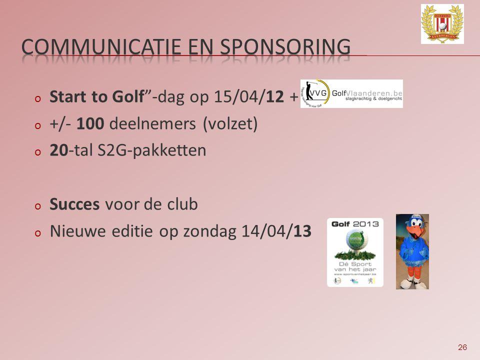 26 o Start to Golf -dag op 15/04/12 + o +/- 100 deelnemers (volzet) o 20-tal S2G-pakketten o Succes voor de club o Nieuwe editie op zondag 14/04/13