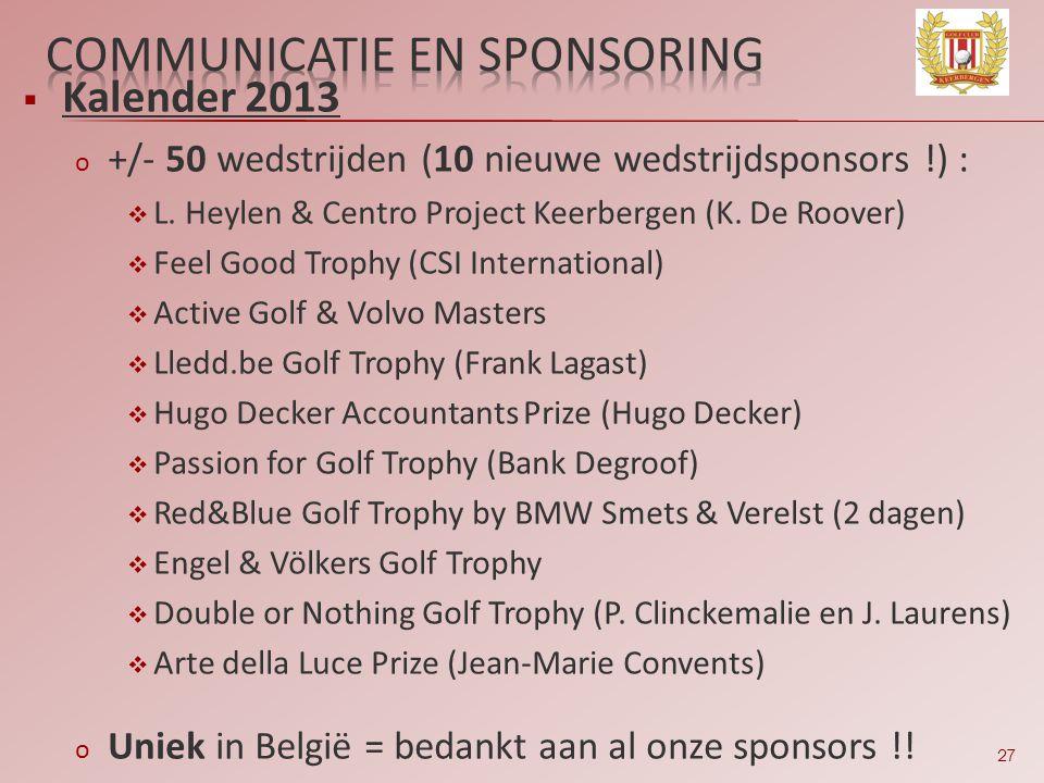 27  Kalender 2013 o +/- 50 wedstrijden (10 nieuwe wedstrijdsponsors !) :  L. Heylen & Centro Project Keerbergen (K. De Roover)  Feel Good Trophy (C