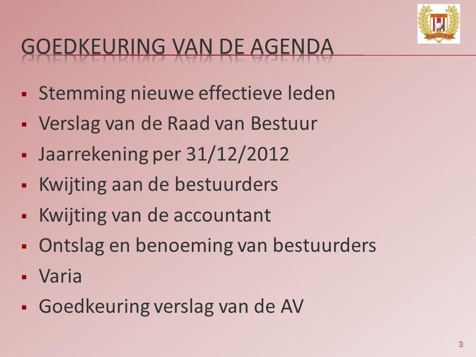 3  Stemming nieuwe effectieve leden  Verslag van de Raad van Bestuur  Jaarrekening per 31/12/2012  Kwijting aan de bestuurders  Kwijting van de a