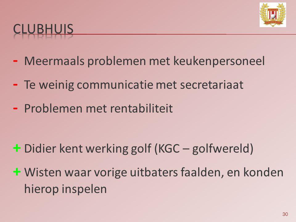 30 - Meermaals problemen met keukenpersoneel - Te weinig communicatie met secretariaat - Problemen met rentabiliteit + Didier kent werking golf (KGC –