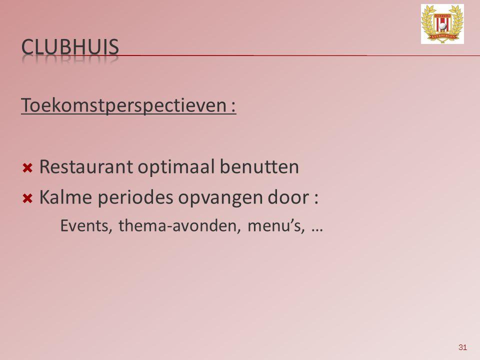 31 Toekomstperspectieven :  Restaurant optimaal benutten  Kalme periodes opvangen door : Events, thema-avonden, menu's, …