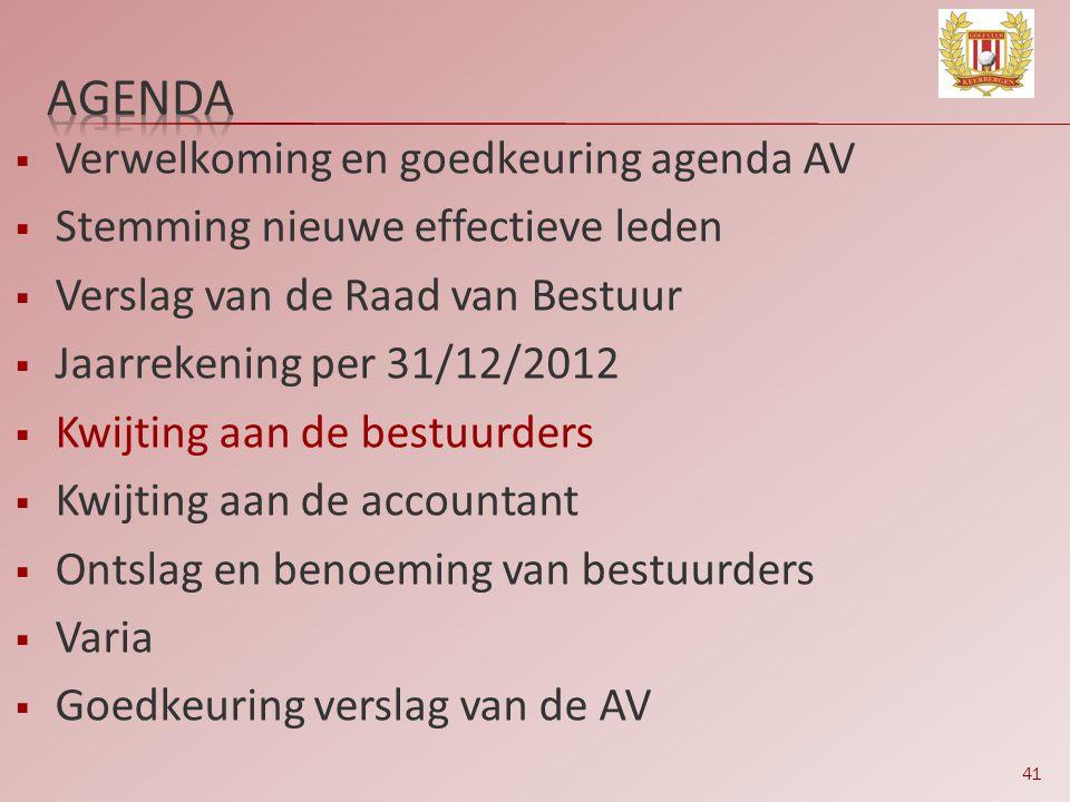41  Verwelkoming en goedkeuring agenda AV  Stemming nieuwe effectieve leden  Verslag van de Raad van Bestuur  Jaarrekening per 31/12/2012  Kwijti
