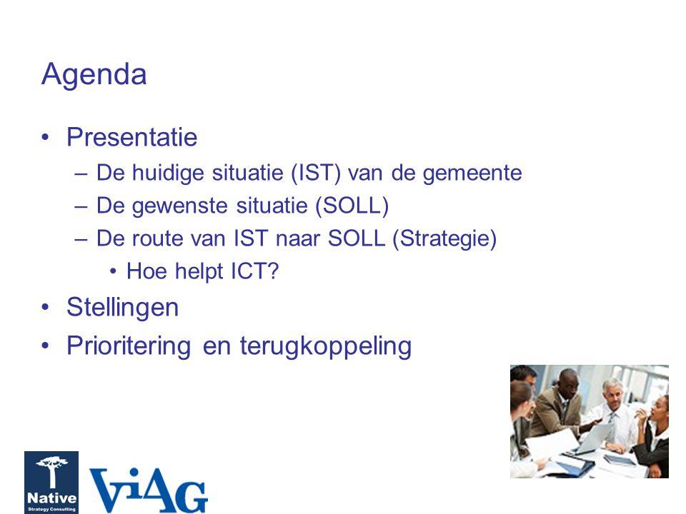Agenda Presentatie –De huidige situatie (IST) van de gemeente –De gewenste situatie (SOLL) –De route van IST naar SOLL (Strategie) Hoe helpt ICT? Stel