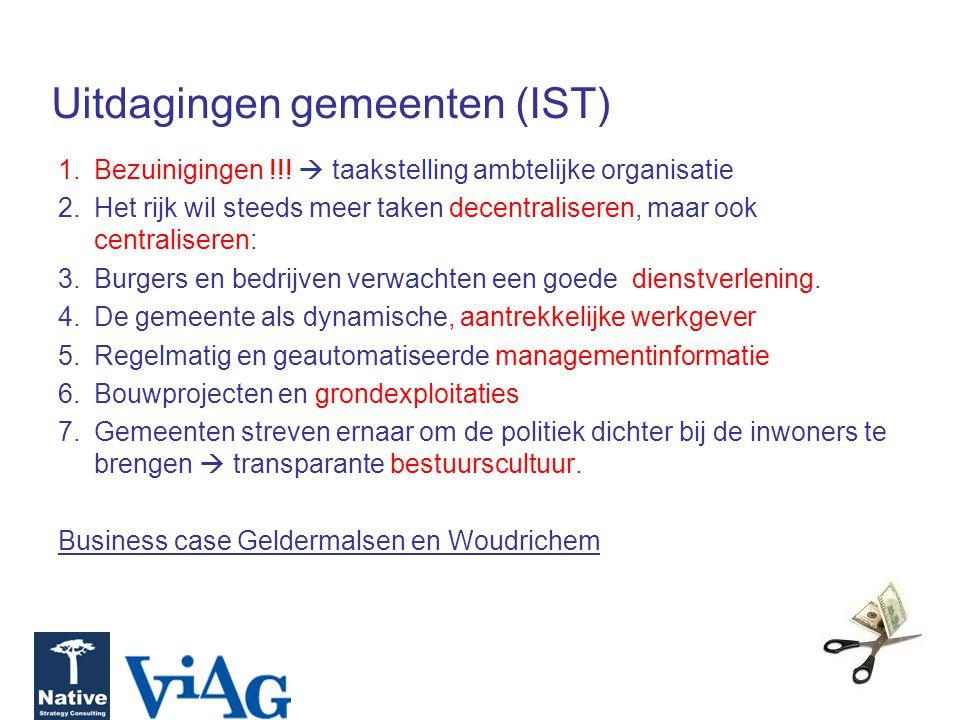 Uitdagingen gemeenten (IST) 1.Bezuinigingen !!!  taakstelling ambtelijke organisatie 2.Het rijk wil steeds meer taken decentraliseren, maar ook centr