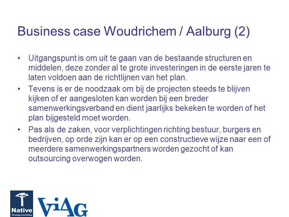 Business case Woudrichem / Aalburg (2) Uitgangspunt is om uit te gaan van de bestaande structuren en middelen, deze zonder al te grote investeringen in de eerste jaren te laten voldoen aan de richtlijnen van het plan.