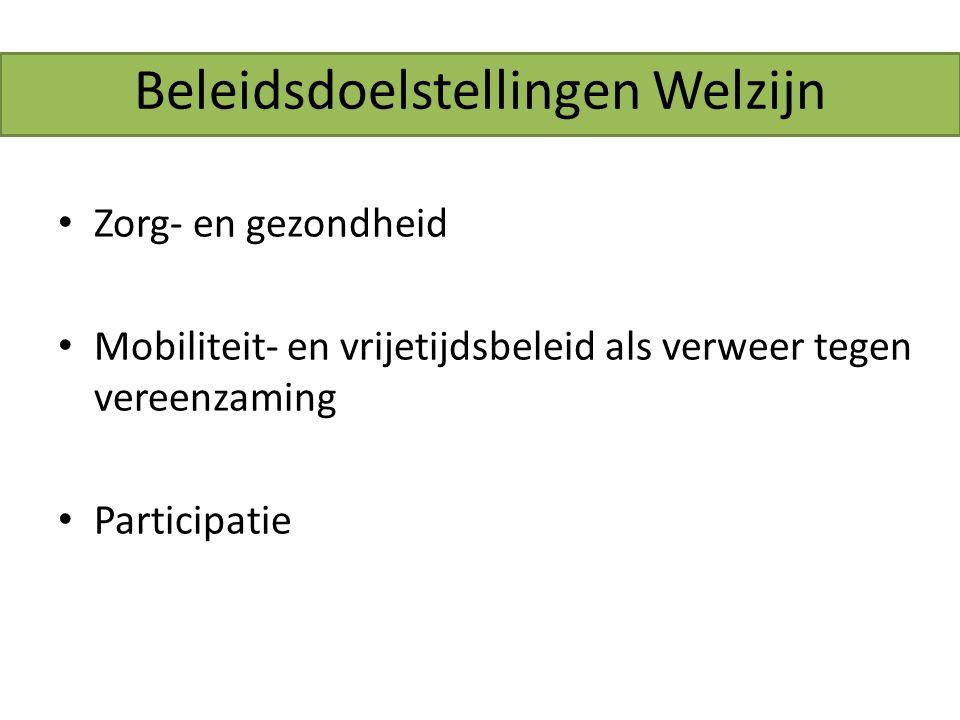 Beleidsdoelstellingen Welzijn Zorg- en gezondheid Mobiliteit- en vrijetijdsbeleid als verweer tegen vereenzaming Participatie