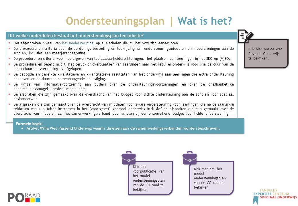 Ondersteuningsplan | Wat is het? Uit welke onderdelen bestaat het ondersteuningsplan ten minste?  Het afgesproken niveau van basisondersteuning op al