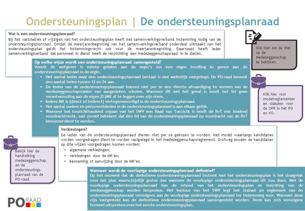 Ondersteuningsplan | De ondersteuningsplanraad Wat is een ondersteuningsplanraad? Bij het vaststellen of wijzigen van het ondersteuningsplan heeft het