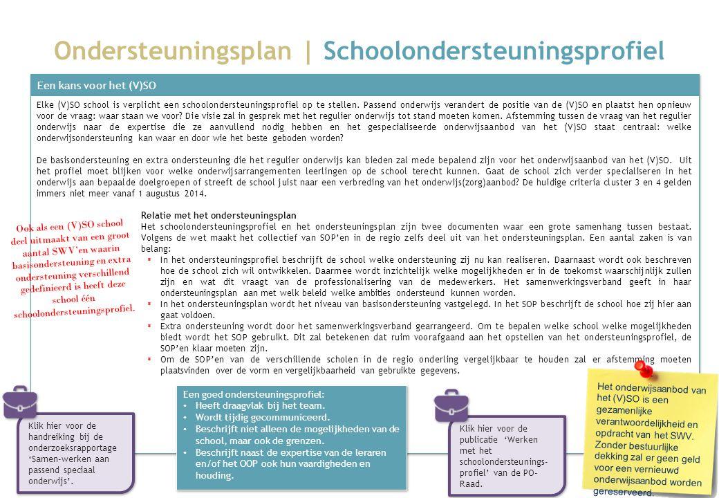 Ondersteuningsplan | Schoolondersteuningsprofiel Een kans voor het (V)SO Elke (V)SO school is verplicht een schoolondersteuningsprofiel op te stellen.