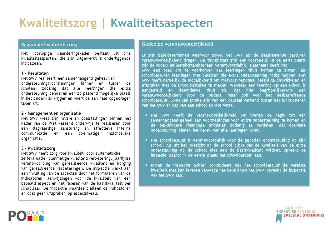 Kwaliteitszorg | Kwaliteitsaspecten Regionale kwaliteitszorg Het voorlopige waarderingskader bestaat uit drie kwaliteitsaspecten, die zijn uitgewerkt