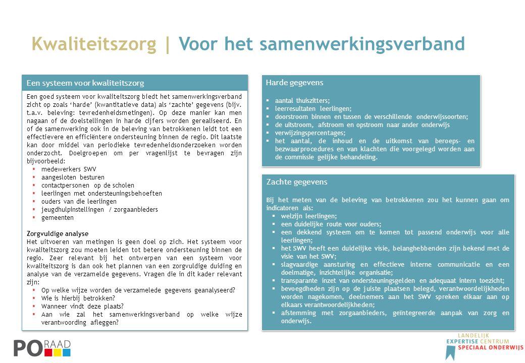 Kwaliteitszorg | Voor het samenwerkingsverband Een systeem voor kwaliteitszorg Een goed systeem voor kwaliteitszorg biedt het samenwerkingsverband zic