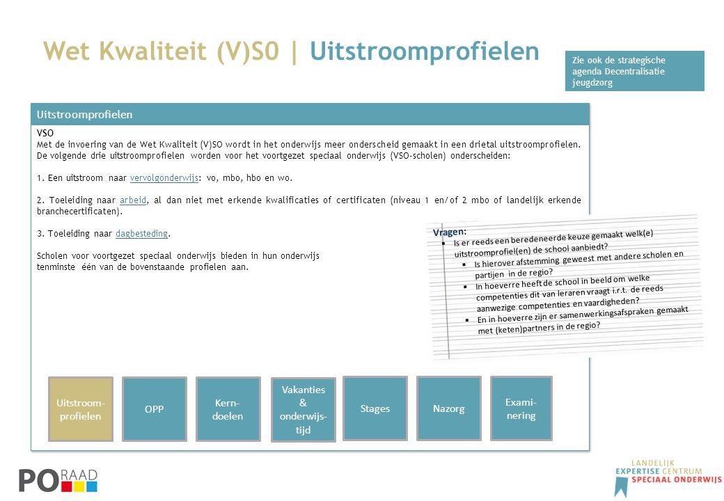 Wet Kwaliteit (V)S0 | Uitstroomprofielen Uitstroomprofielen VSO Met de invoering van de Wet Kwaliteit (V)SO wordt in het onderwijs meer onderscheid ge
