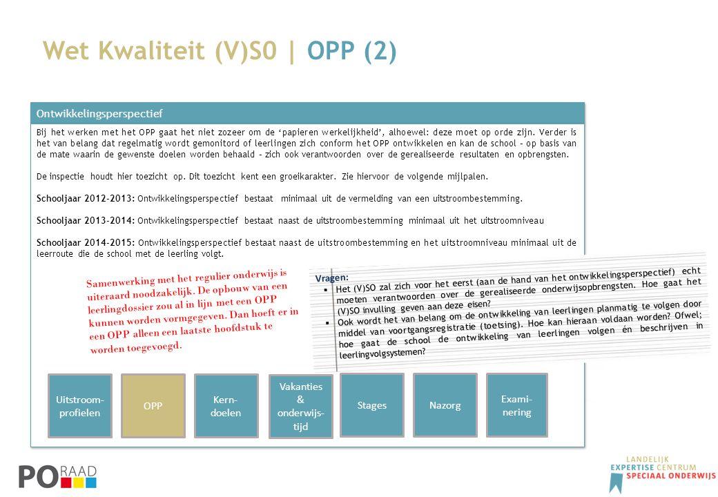 Wet Kwaliteit (V)S0 | OPP (2) Ontwikkelingsperspectief Bij het werken met het OPP gaat het niet zozeer om de 'papieren werkelijkheid', alhoewel: deze