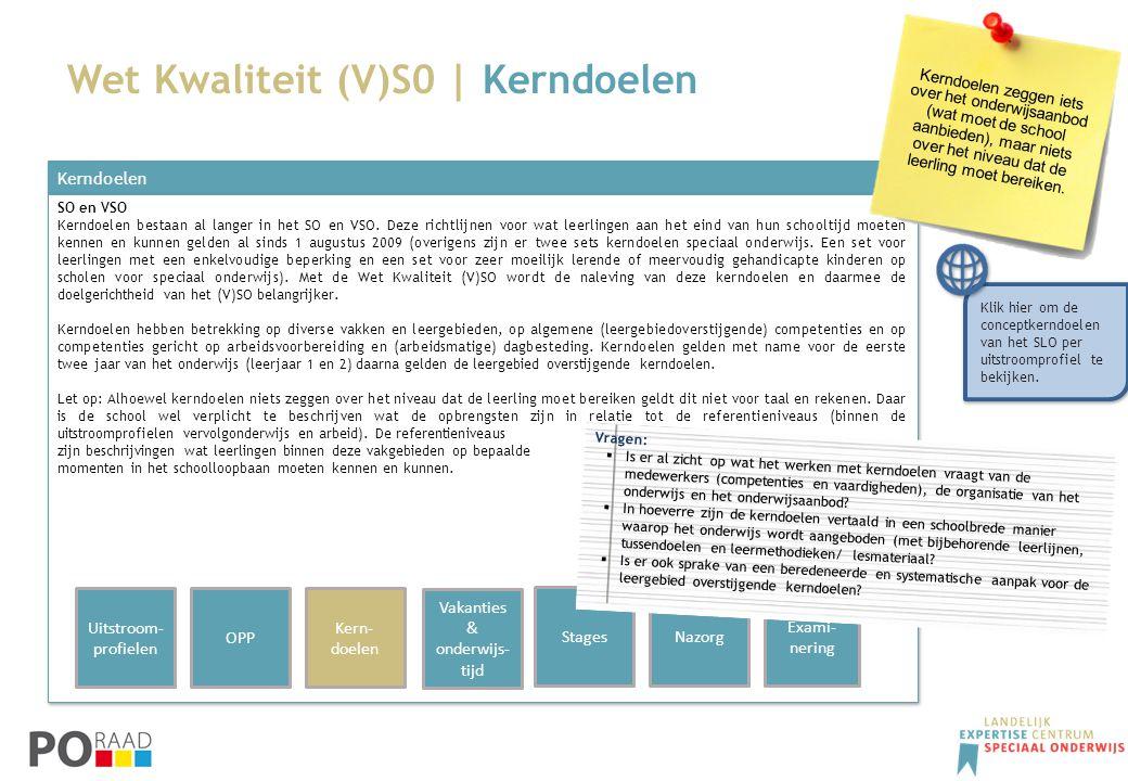 Kerndoelen SO en VSO Kerndoelen bestaan al langer in het SO en VSO. Deze richtlijnen voor wat leerlingen aan het eind van hun schooltijd moeten kennen