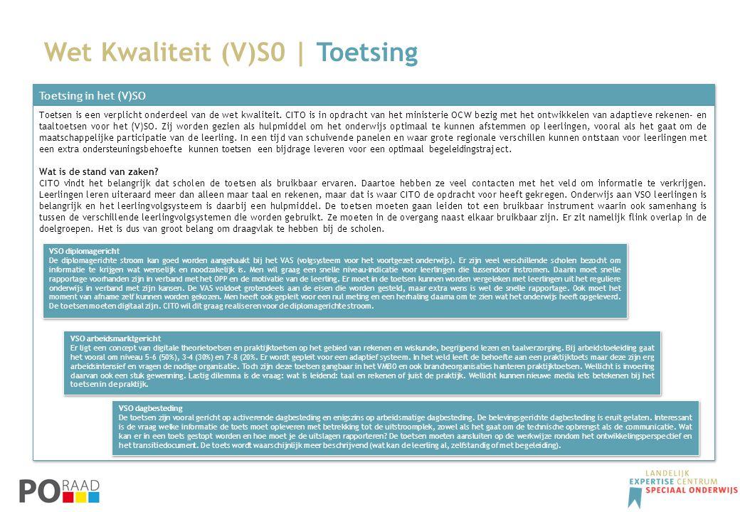 Wet Kwaliteit (V)S0 | Toetsing Toetsing in het (V)SO Toetsen is een verplicht onderdeel van de wet kwaliteit. CITO is in opdracht van het ministerie O