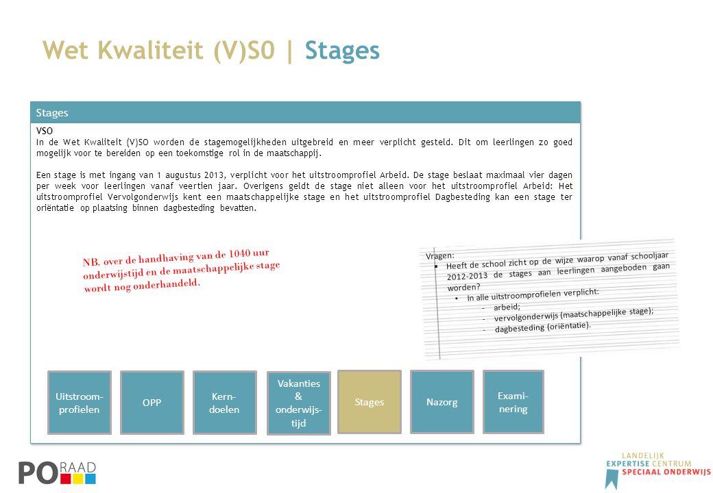 Wet Kwaliteit (V)S0 | Stages Stages VSO In de Wet Kwaliteit (V)SO worden de stagemogelijkheden uitgebreid en meer verplicht gesteld. Dit om leerlingen