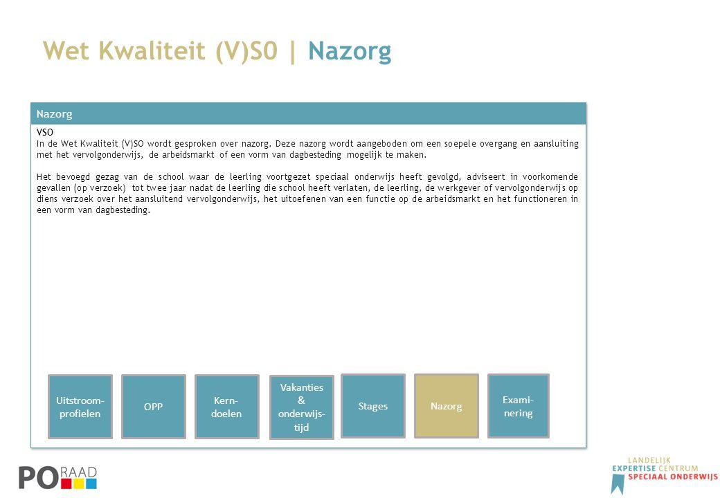 Wet Kwaliteit (V)S0 | Nazorg Nazorg VSO In de Wet Kwaliteit (V)SO wordt gesproken over nazorg. Deze nazorg wordt aangeboden om een soepele overgang en