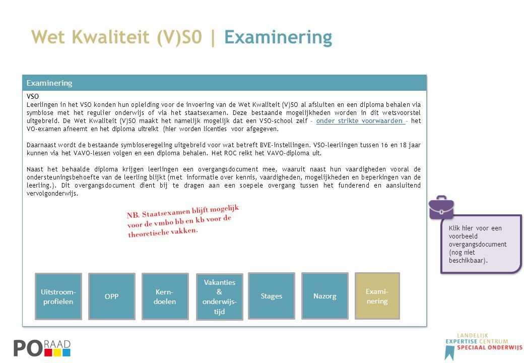 Wet Kwaliteit (V)S0 | Examinering Examinering VSO Leerlingen in het VSO konden hun opleiding voor de invoering van de Wet Kwaliteit (V)SO al afsluiten