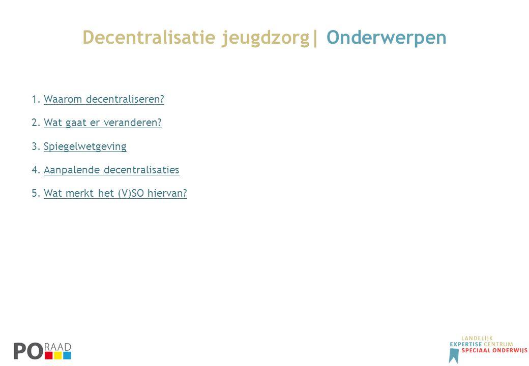 Decentralisatie jeugdzorg| Onderwerpen 1.Waarom decentraliseren?Waarom decentraliseren? 2.Wat gaat er veranderen?Wat gaat er veranderen? 3.Spiegelwetg